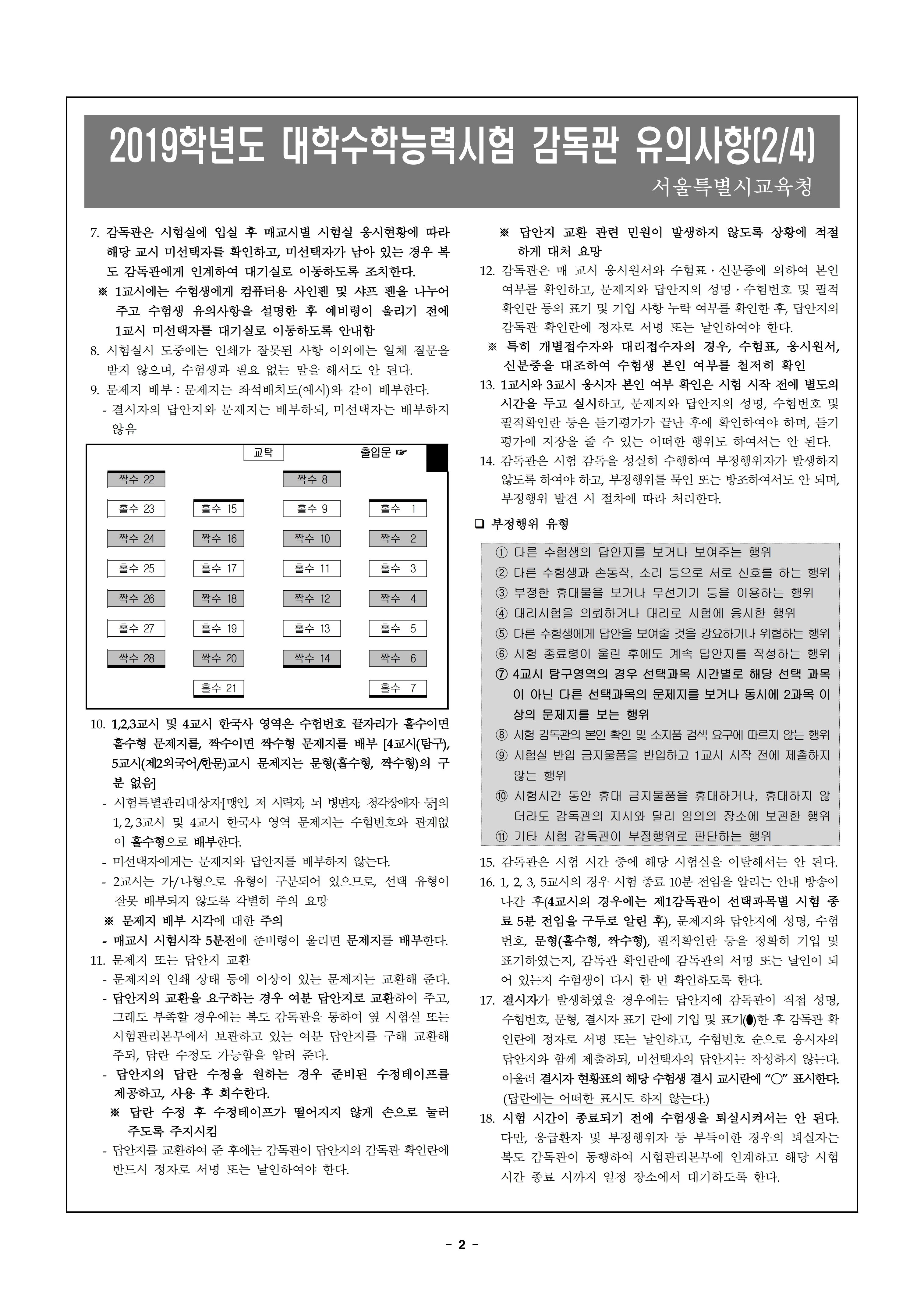 2019학년도 수능 감독관 유의사항(B4)